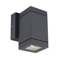 Aplique cuadrado GU10 Max.35W de superficie aluminio antracita IP54 One Light - bombilla GU10 incluida