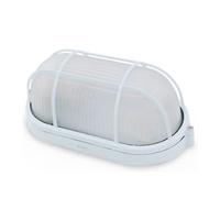 Aplique ovalado aluminio con rejilla E27 Max.60W de superficie difusor vidrio blanco IP44 GSC