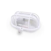 Aplique ovalado con rejilla E27 Max.60W de superficie difusor vidrio blanco IP44 GSC