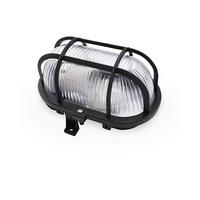 Aplique ovalado con rejilla E27 Max.60W de superficie difusor vidrio negro IP44 GSC