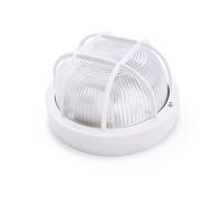 Aplique redondo PVC con rejilla E27 Max.60W de superficie difusor vidrio blanco IP44 GSC