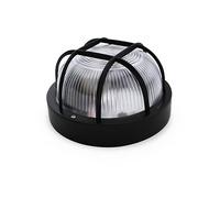 Aplique redondo PVC con rejilla E27 Max.60W de superficie difusor vidrio negro IP44 GSC