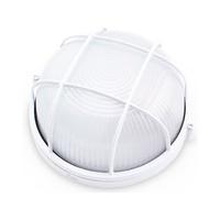 Aplique redondo aluminio con rejilla E27 Max.60W de superficie difusor vidrio blanco IP44 GSC