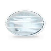 Aplique semi-ovalado aluminio con rejilla E27 Max.60W de superficie difusor vidrio blanco IP44 GSC