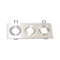Aro basculante rectangular triple empotrable/liso GU10 Max.3x50W para bombillas dicroicas aluminio GSC