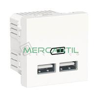 Base Doble USB para Recarga con Tension 5V 2 Modulos New Unica SCHNEIDER ELECTRIC