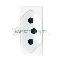 Base de Enchufe Bipolar Brasileña con Toma Tierra 2P+T con Seguridad 1 Modulo Zenit NIESSEN - Color Blanco
