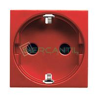 Base de Enchufe Bipolar Schuko con Toma Tierra Lateral 2P+T 16A para Circuitos Especiales con Seguridad 2 Modulos Zenit NIESSEN - Color Rojo