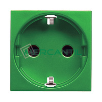 Base de Enchufe Bipolar Schuko con Toma Tierra Lateral 2P+T 16A para Circuitos Especiales con Seguridad 2 Modulos Zenit NIESSEN - Color Verde