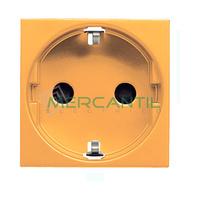 Base de Enchufe Bipolar con Toma Tierra Lateral Schuko 2P+T 16A para Circuitos Especiales con Seguridad 2 Modulos Zenit NIESSEN - Color Naranja