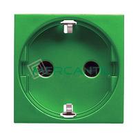 Base de Enchufe Bipolar con Toma Tierra Lateral Schuko 2P+T 16A para Circuitos Especiales con Seguridad 2 Modulos Zenit NIESSEN - Color Verde