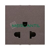 Base de Enchufe Euroamericana 2P+T 15A con Proteccion 2 Modulos Zenit NIESSEN - Color Antracita