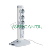 Base de Enchufe Multiple Sobremesa con Cable 4x2P+T + 2 Tomas USB + 1 Toma Micro USB LEGRAND