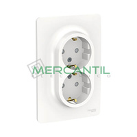 Base de Enchufe Schuko Doble Monobloc 2P+T 16A 1 Modulo New Unica SCHNEIDER ELECTRIC - Embornamiento a Tornillo