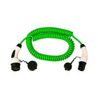 Cable 5m coil con extremo vehiculo modo 3 tipo 2 hembra y extrema WallBox modo 3 tipo 2 macho trifasico 32A Simon