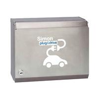 Caja metalica basica con 2 tomas schuko 16A 3.6kW monofasico con juego llaves + automatico diferencial combinado + programador horario y medidor de energia modo 1 y 2 IP40 Simon