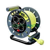 Enrollacable 4 Enchufes Schuko 2P+T 16A con Interruptor + Indicador LED + Guia de Cable Abierto L ProXT - Cable 40 metros