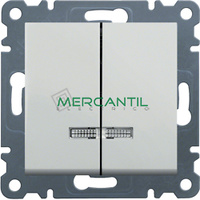 Interruptor Doble con Indicador Luminoso HAGER Serie Lumina 2