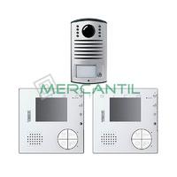 Kit Videoportero V2 Manos Libres para 1 Vivienda LINEA 2000 CLASSE 100V12B TEGUI - 2 Monitores y 1 Placa