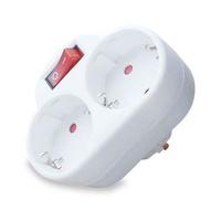 Ladron doble con interruptor para enchufes schuko 2P+T proteccion niños GSC