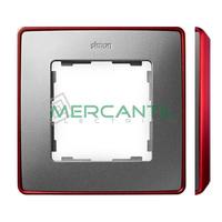 Marco Embellecedor SIMON 82 Detail Metal Color Metalizado - Color Aluminio Frio/Rojo