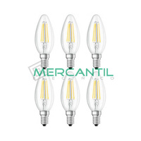 Pack 6 Bombillas LED de Filamento 4.5W E14/C35 IP20 LEDME