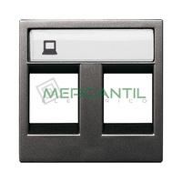 Tapa para Doble Soporte Conectores Informaticos 2 Modulos Zenit NIESSEN - Color Antracita