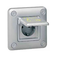 Toma 2P+T empotrar metalica con tapa y cerradura Green UP access IP55 Legrand