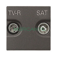 Toma de Television Unica TV-R/SAT 2 Modulos Zenit NIESSEN - Color Antracita