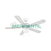Ventilador Techo con Luz + Aspas de Madera Blanca 60W 3 Velocidades GSC